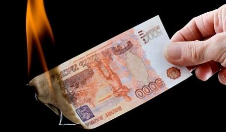Первая реакция на санкции, обвал российского рубля