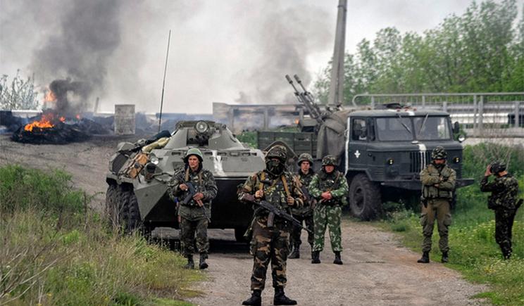 Уничтоженная часть колонны сил АТО под поселком Роскошное (Видео)