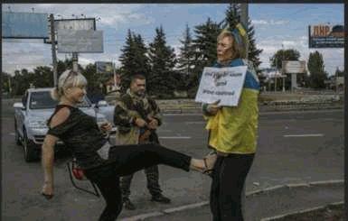 МВД уже известно кто избивал привязанную патриотку в Донецке