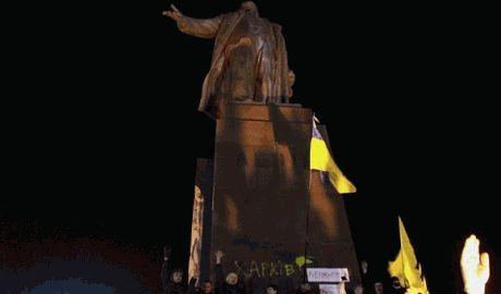 В Харькове сносят памятник Ленину ОНЛАЙН трансляция