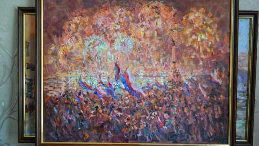 Ошибка по Фрейду — на картине в Ялте изобразили не российские триколоры, а флаги оккупированных территорий Богемии и Моравии