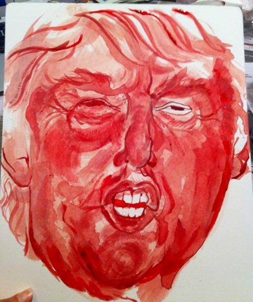 Дональда Трампа изобразили менструальной кровью