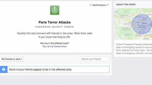 Facebook начал помогать искать пропавших в Париже людей