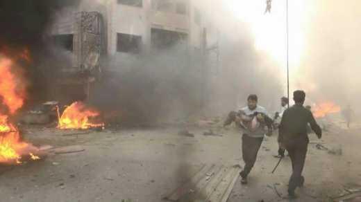 Последствия авиаудара русских фашистов по жилым кварталам в Сирии (фото)