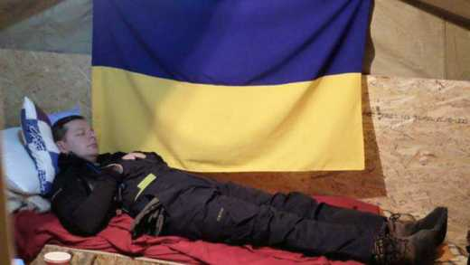 Ляшко «вырубился» в палатке под флагом Украины