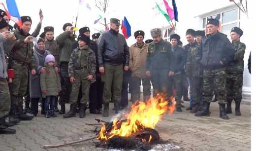 Казаки «погрілися» спаливши опудала Обами та Ердогана (ВІДЕО)