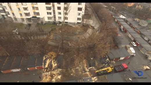 Появилось видео обрушения опорной стены в Киеве
