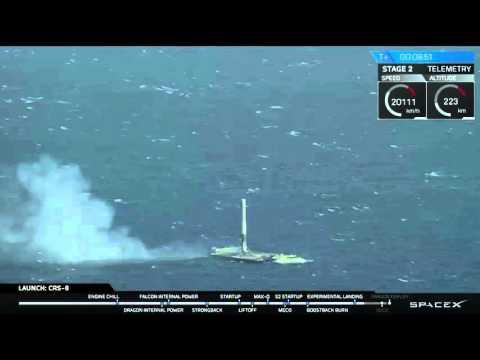Это нереально круто! Посадка первой ступени ракеты SpaceX на платформу /Видео/