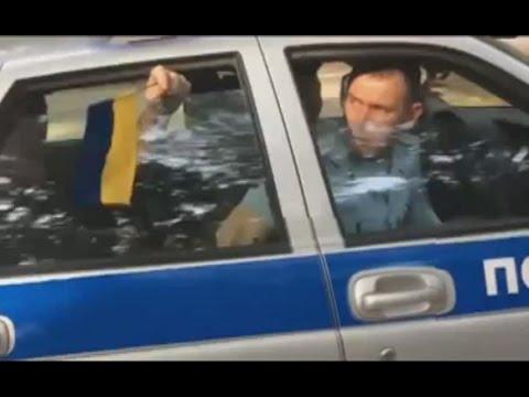 В Симферополе, в день Росии задержали активиста с украинским флагом /видео/