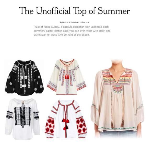 The New York Times назвал украинскую вышиванку трендом лета.