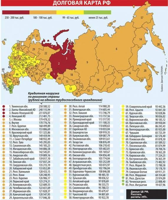 Долговая карта РФ: обитатели страны-404 по уши в долгах