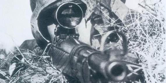 Советский шахтер с золотой нашивкой снайпера