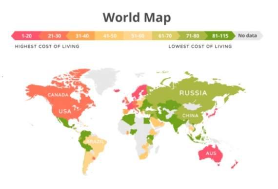 Україна потрапила у трійку країн з найдешевшим рівнем життя