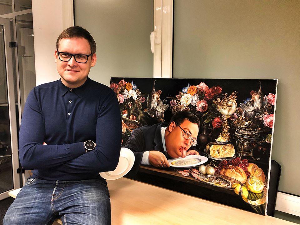 """Картина с Тошей Геращенко """"Лизоблюд"""" ушла за 666 долларов /Фото/"""
