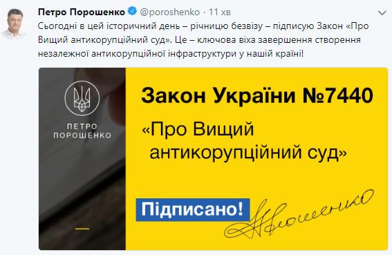 До річниці безвізу: Порошенко підписав закон про Антикорсуд