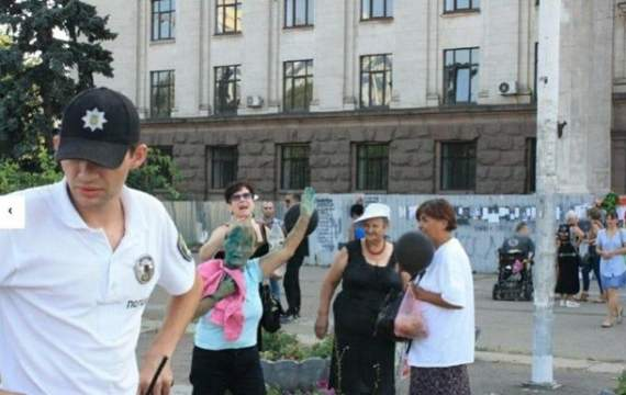В Одессе облили зеленкой сторонников террориста Захарченко
