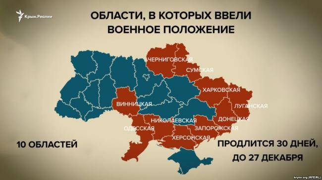 Военное положение будет введено завтра в 10 областях Украины. СКРИН. ВИДЕО