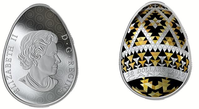 Уникальную монету выпустили в Канаде: форма украинской писанки