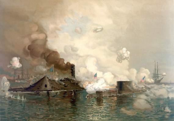 Первый в истории бой броненосных кораблей