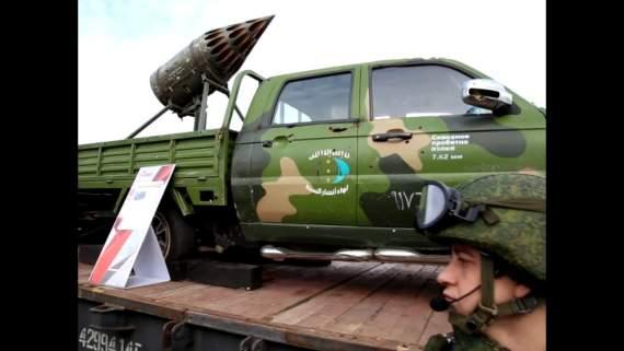 Поезд в Керчи с Сирийской бронетехникой, оружием и флагами