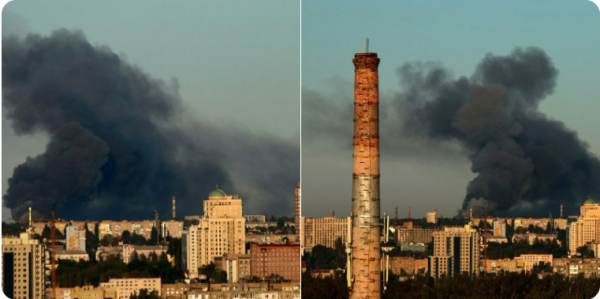 В Донецке пожар и взрывы на складе боеприпасов боевиков