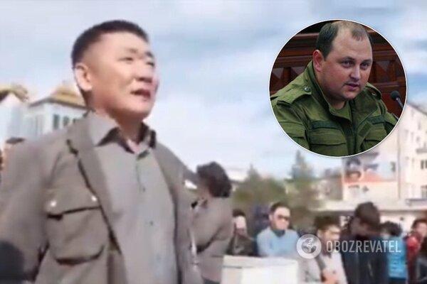 """Калмыцкий активист на демонстрации против мэра из """"ДНР"""""""
