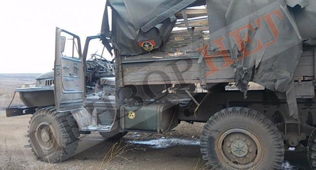 ЧП на Донбассе: Террористы уничтожили грузовик ВСУ, в котором были военные