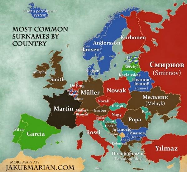 Лингвисты назвали самые распространенные фамилии в Европе