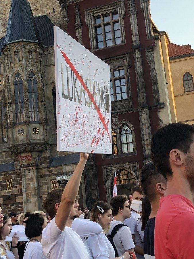 Прага, митинг в поддержку Белорусов