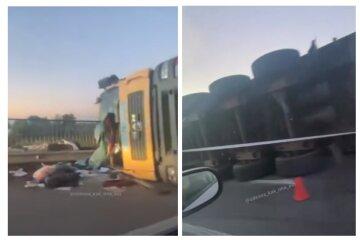 Масштабная авария на мосту под Одессой, фура разбита вдребезги: видео с места